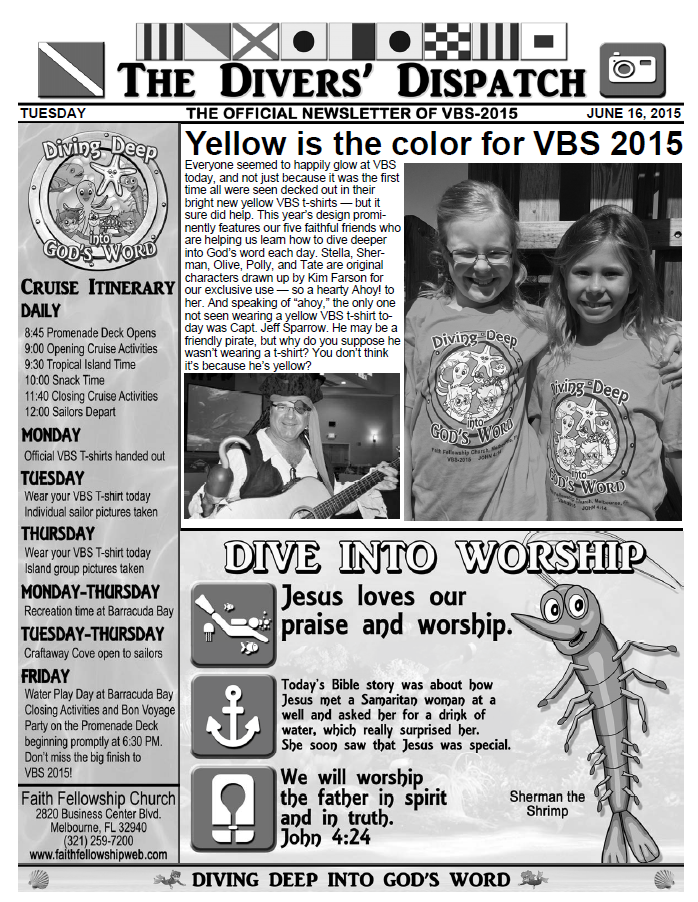 VBS 2015 Tuesday Newsletter
