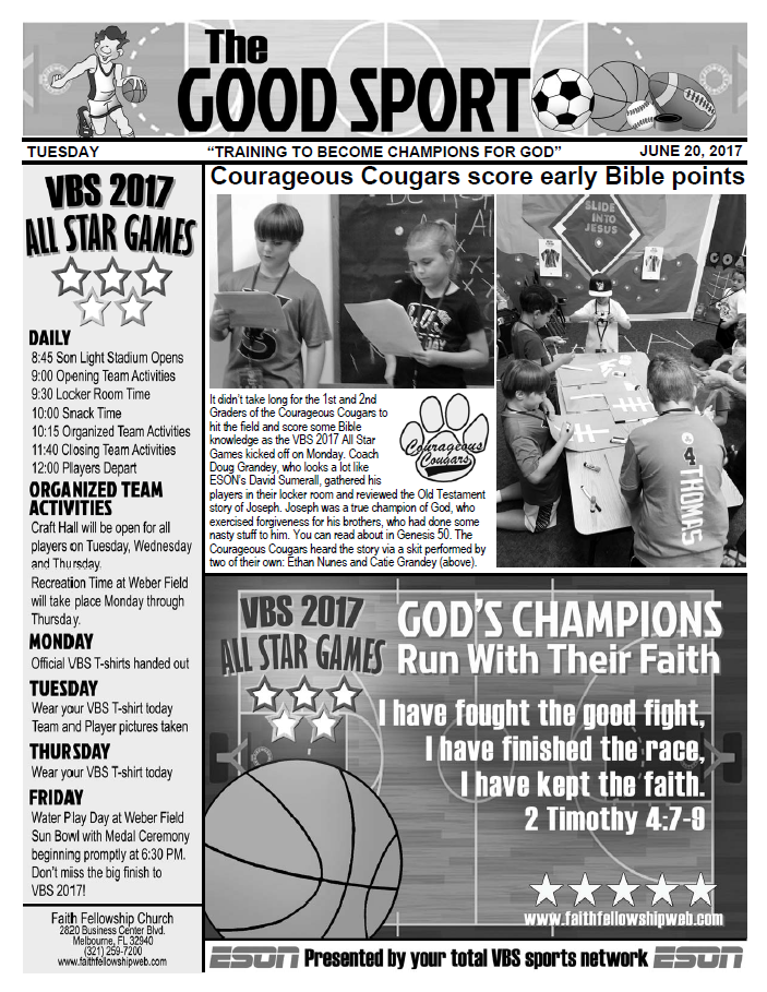 VBS 2017 Tuesday Newsletter
