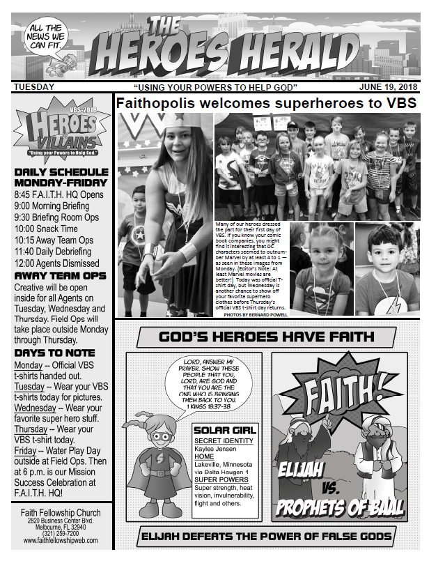 VBS 2018 Tuesday Newsletter